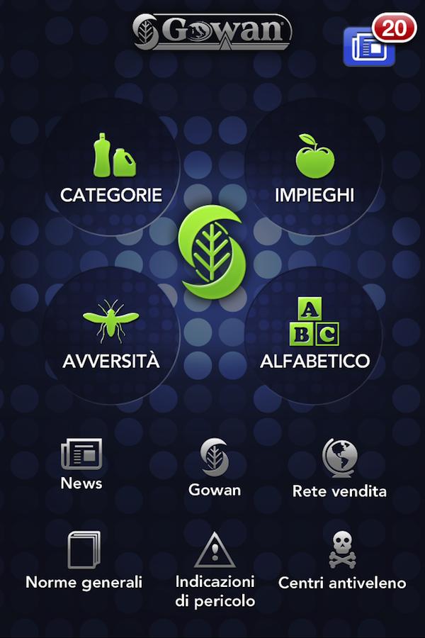 """Screenshot app """"Gowan Italia"""""""